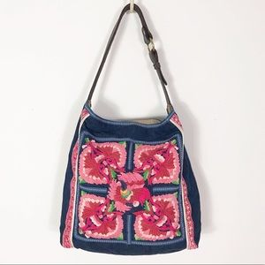 Lucky Brand Embroidered Denim Shoulder Bag Tote